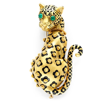 An Emerald, Enamel And Gold Leopard Brooch, By David Webb