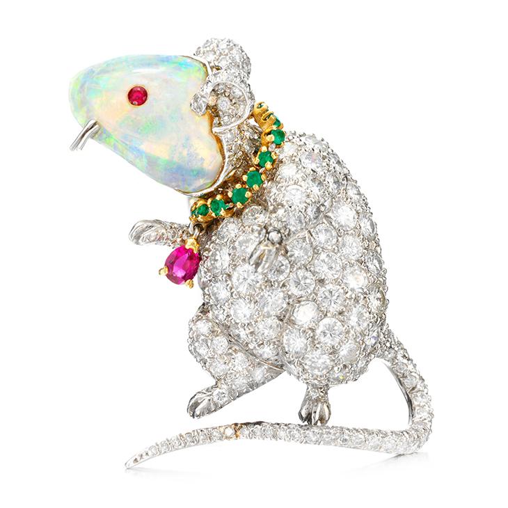An Opal, Emerald, Ruby and Diamond 'Mouse' Brooch, by Verdura, circa 1972