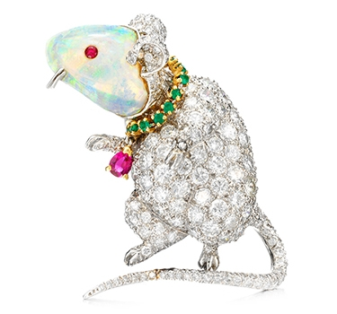 An Opal, Emerald, Ruby And Diamond 'Mouse' Brooch, By Verdura, Circa 1972