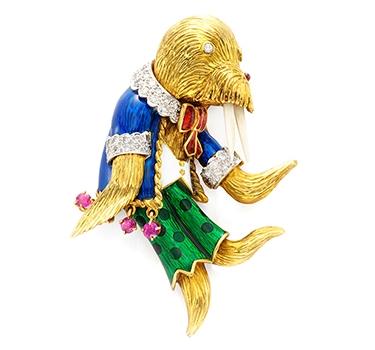 An Enamel, Multi-Gem And Gold 'Walrus' Brooch, By Donald Claflin For Tiffany & Co.