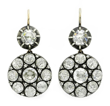 A Pair of Rose-cut Diamond and Silver-topped Gold Ear Pendants