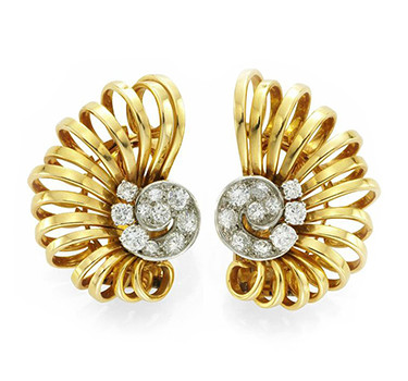 A Pair Of Retro Gold And Diamond Scroll Ear Clips, By Boucheron, Circa 1940