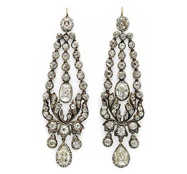 A Pair Of Georgian Diamond Ear Pendants, Circa 1820