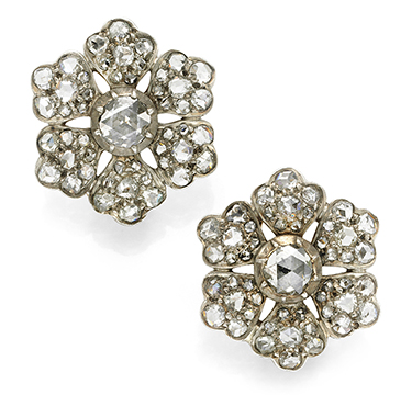 A Pair of Antique Rose-cut Diamond Ear Clips, circa 19th Century