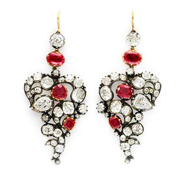 A Pair Of Antique Burmese Ruby And Diamond Ear Pendants, Circa 19th Century