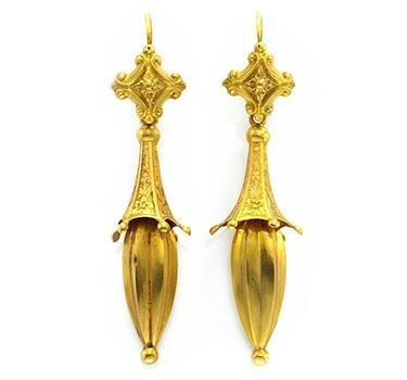 A Pair Of Antique Gold Ear Pendants, Circa 19th Century