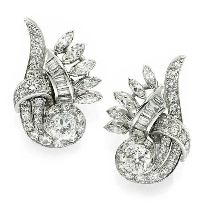 A Pair of Retro Diamond and Platinum Scroll Ear Clips, circa 1945