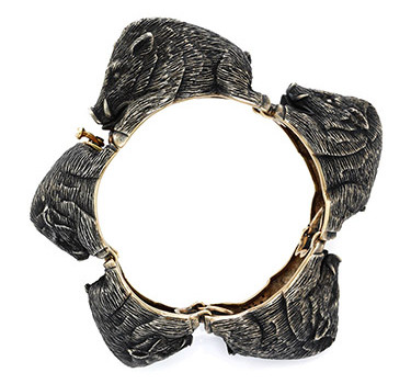 A Silver And Gold Boars Bracelet, By Serafini, Circa 1960