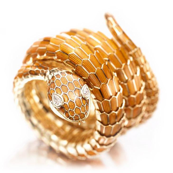 An Enamel, Gold and Diamond Serpent Bracelet Watch, by Bulgari, circa 1960
