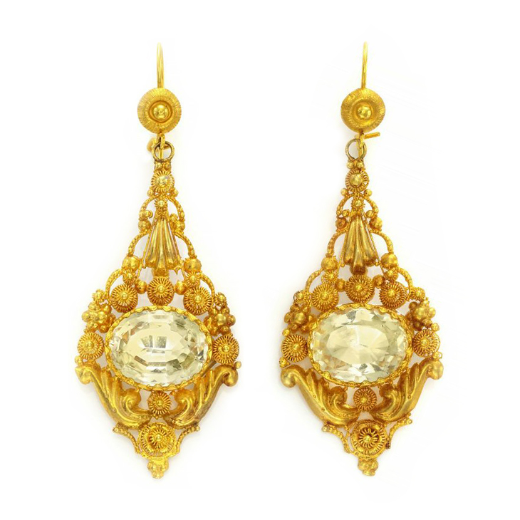 A Pair of Antique Citrine and Gold Ear Pendants, circa early 19th Century