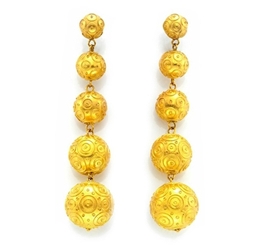 A Pair Of Graduated Filigreed Gold Ball Ear Pendants