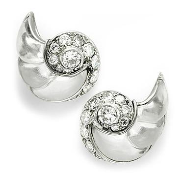 A Pair of Rock Crystal and Diamond Ear Clips, by Boucheron, circa 1930