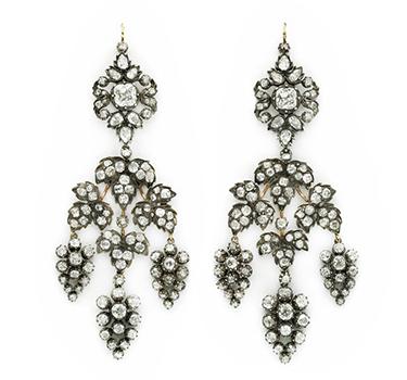 A Pair Of Antique Diamond Ear Pendants, Circa 19th Century