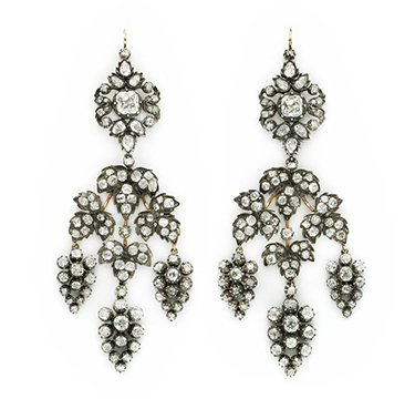 A Pair of Antique Diamond Ear Pendants, circa 19th Century