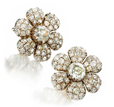 A Pair Of Antique Flower Diamond Ear Clips, Circa 19th Century