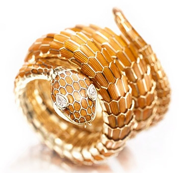 An Enamel, Gold And Diamond Serpent Bracelet Watch, By Bulgari, Circa 1960