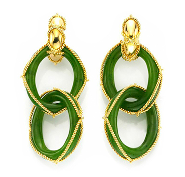 A Pair of Chrysoprase and Gold Ear Pendants, by Marchak, circa 1970