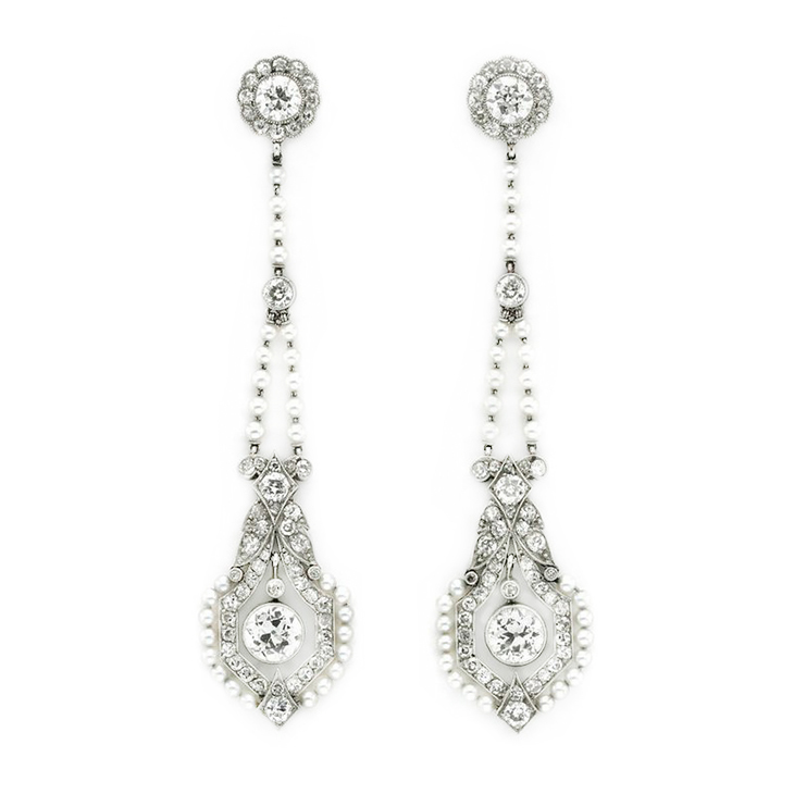 A Pair of Belle Epoque Seed Pearl and Diamond Ear Pendants, circa 1910