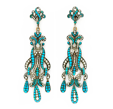 A Pair of Seed Pearl, Turquoise and Silver Ear Pendants, circa 19th Century