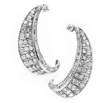 A Pair Of Diamond And Platinum Crescent Ear Clips, Circa 1940