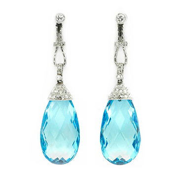 A Pair of Belle Epoque Aquamarine and Diamond Ear Pendants, circa 1910
