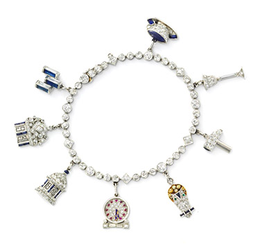 An Art Deco Multi-gem and Diamond Charm Bracelet, by Charlton & Co., circa 1930