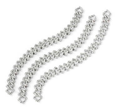 A Set Of Art Deco Diamond And Platinum Bracelets, Circa 1925