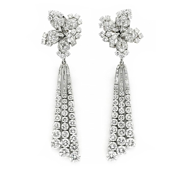 A Pair Of Diamond Ear Pendants, By Bulgari, Circa 1950