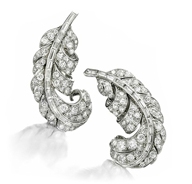 A Pair of Diamond and Platinum Feather Ear Clips, by Boucheron, circa 1940