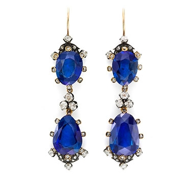A Pair Of Antique Burmese Sapphire And Rose-cut Diamond Ear Pendants, 19th Century