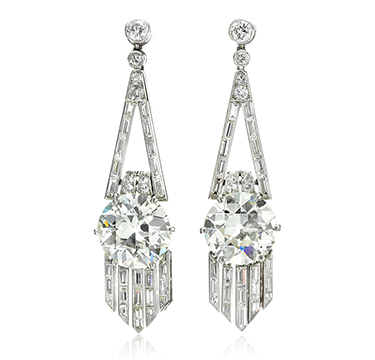 A Pair of Art Deco Diamond Ear Pendants, weighing approximately 14.00 carats, circa 1920