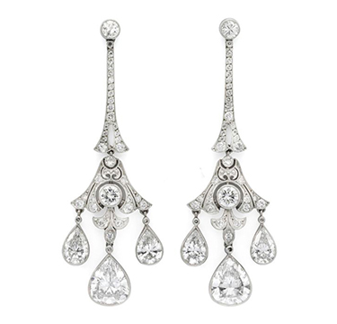 A Pair of Edwardian Diamond and Platinum Ear Pendants, circa 1910