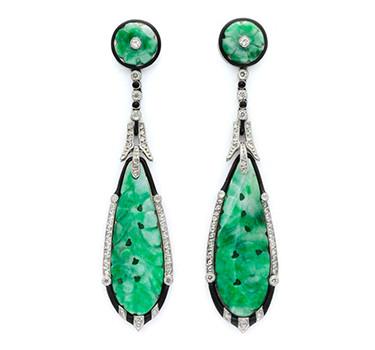 A Pair Of Art Deco Jade, Onyx And Diamond Ear Pendants, Circa 1925