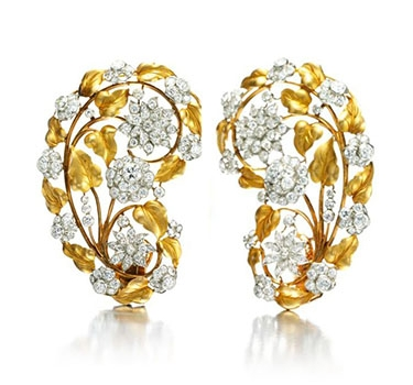 A Pair Of Gold And Diamond Ear Clips, By Rene Boivin, Circa 1934