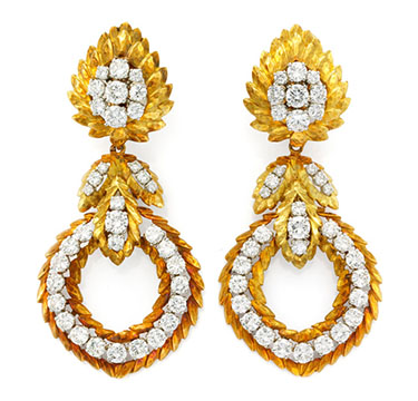 A Pair Gold and Diamond Ear Pendants, by David Webb, circa 1970