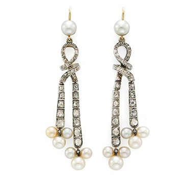 A Pair Of Antique Natural Pearl And Diamond Ear Pendants
