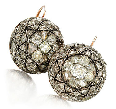 A Pair Of Antique Rose And Old Mine-cut Diamond Ball Earrings, 19th Century