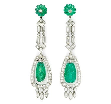 A Pair Of Art Deco Carved Emerald And Diamond Ear Pendants