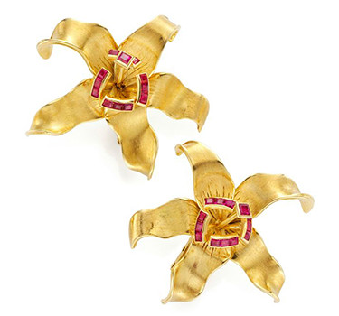 A Pair Of Gold And Ruby Orchid Ear Clips, By Rene Boivin, Circa 1940