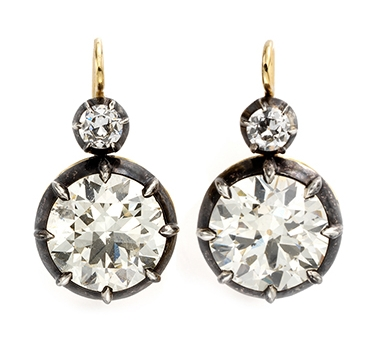 A Pair Of Old European-cut Diamond Ear Pendants, Weighing Approximately 10.00 Carats