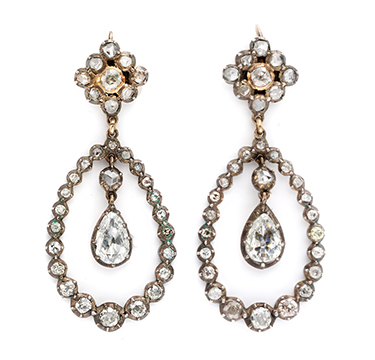 A Pair Of Antique Diamond Ear Pendants, 19th Century