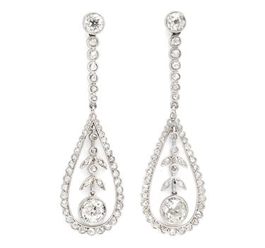 A Pair Of Edwardian Rose-cut Diamond Ear Pendants