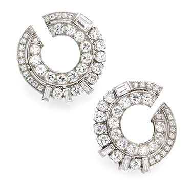 A Pair Of Art Deco Diamond Creole Ear Clips, Circa 1930