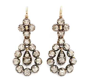 A Pair Of Antique Diamond Ear Pendants, 19th Century