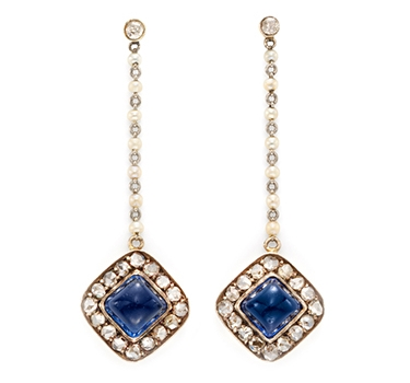 A Pair Of Antique Sapphire, Pearl And Diamond Ear Pendants