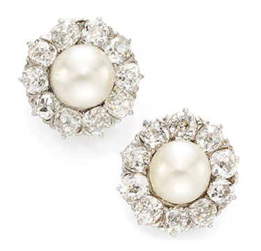 A Pair Of Natural Pearl And Diamond Ear Clips