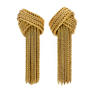 A Pair Of Gold Tassel Ear Pendants, By Grosse, Circa 1960