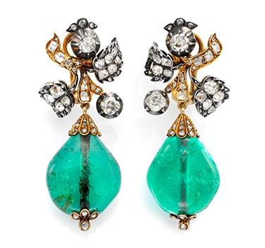 A Pair Of Antique Diamond And Emerald Bead Ear Pendants, Circa 1850