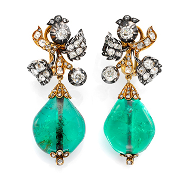 A Pair Of Antique Diamond And Emerald Bead Ear Pendants, Circa 1850