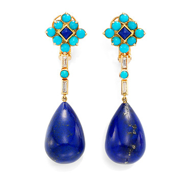 A Pair Of Lapis Lazuli, Turquoise And Diamond Ear Pendants, By Boucheron, Circa 1940